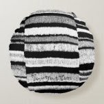 fun black and white knitted reversible design round pillow