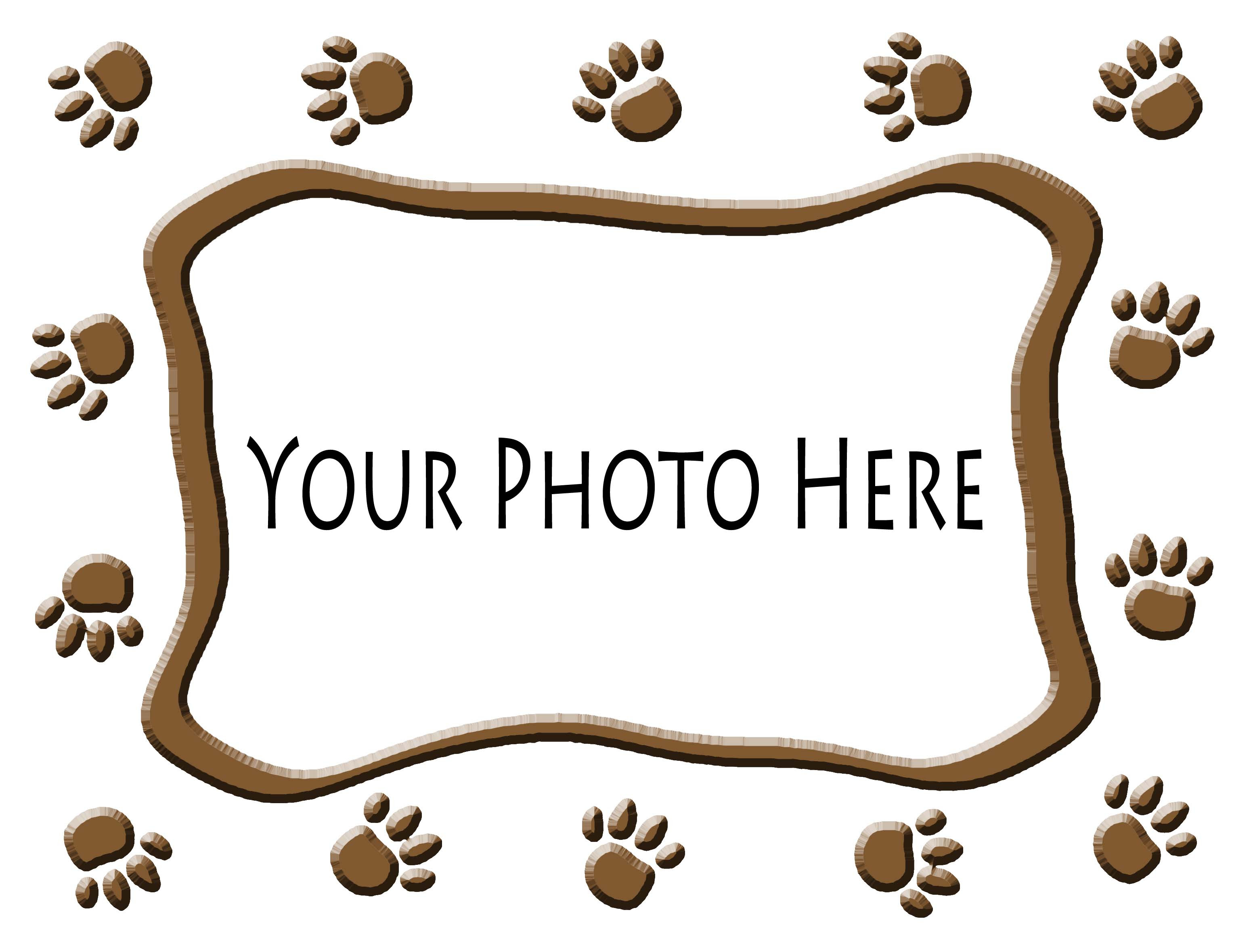 Pet Photo On T Shirt Inside A Paw Prints Frame Pattern