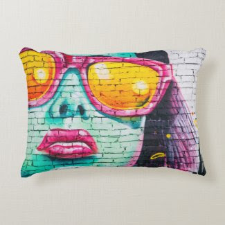 Lady Graffiti Wall Accent Pillow