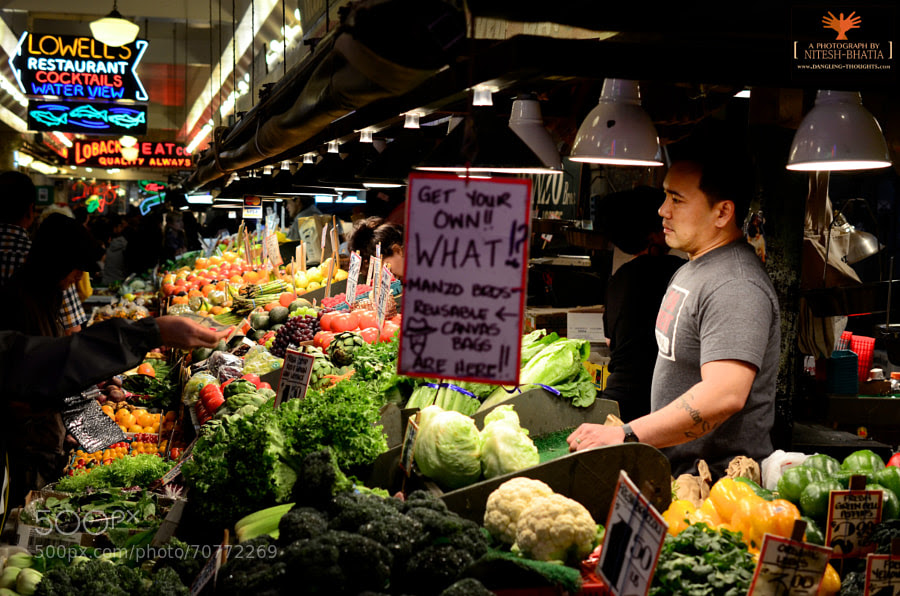 Photograph Vegetables Store at The Pike Place Market, Seattle by Nitesh Bhatia on 500px