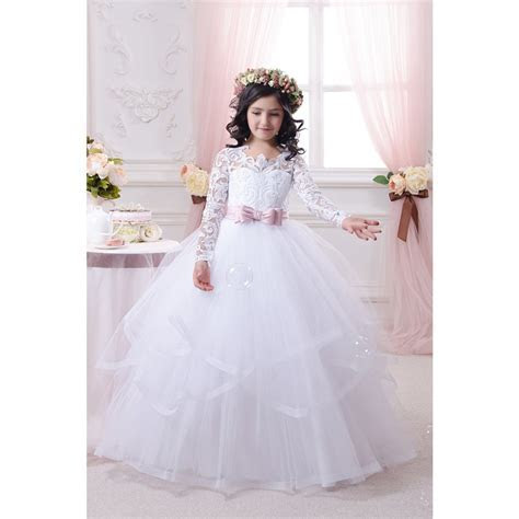 Pink Sashes Princess Lace Flower Girls Dress With Long