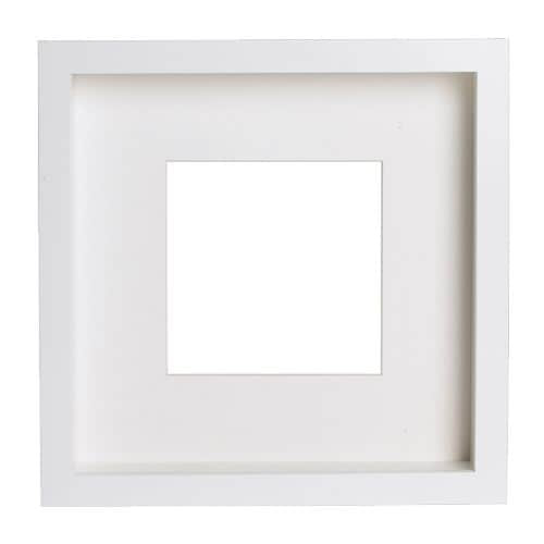 """RIBBA Frame, white                            Width: 9 ¾ """" Depth: 1 ¾ """" Height: 9 ¾ """" Picture, width: 9 """" Picture, height: 9 """" Mat inside meas. W: 4 ¾ """" Mat inside meas. H: 4 ¾ """"  Width: 25 cm Depth: 4.5 cm Height: 25 cm Picture, width: 23 cm Picture, height: 23 cm Mat inside meas. W: 12 cm Mat inside meas. H: 12 cm"""