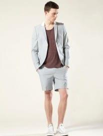 Topman Blue Tick Stripe Shorts Suit