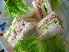 Tuna Lettuce and Cucumber Sandwiches