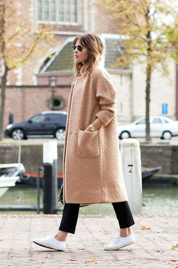 Le Fashion Blog Neutral Ganni Textured Camel Coat Cropped Black Pants White Sneakers Fall Style Via Fash N Chips