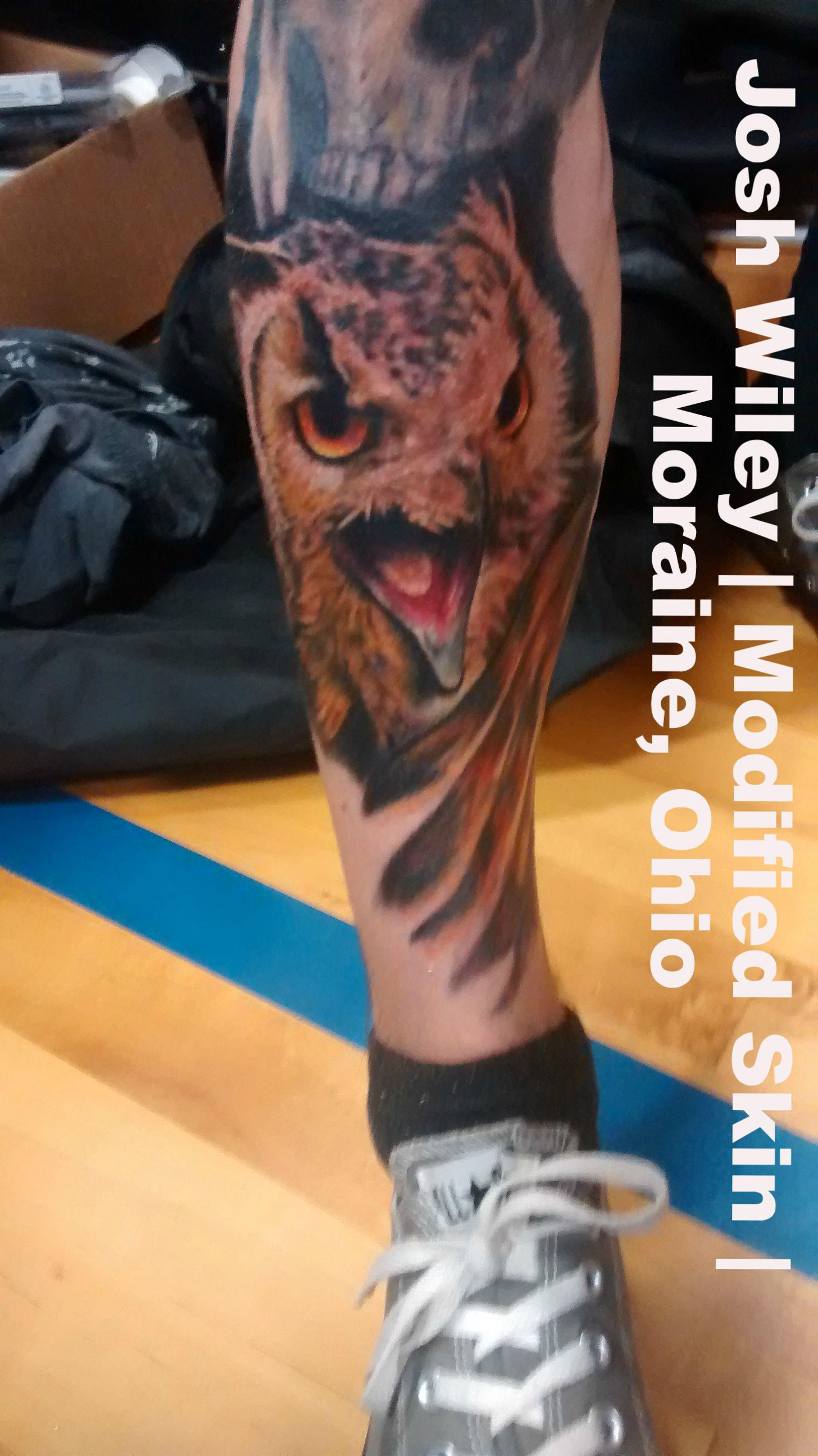 Owl On Custom Leg Sleeve Session 8 Done By Josh Wiley Of