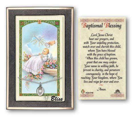 Baptismal Blessing Prayer Card with Sterling Silver Medal