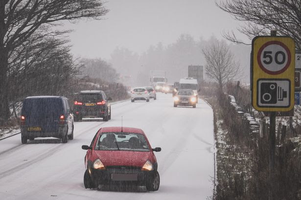 A car sliding on the A666, as roads turned to ice rinks in Lancashire