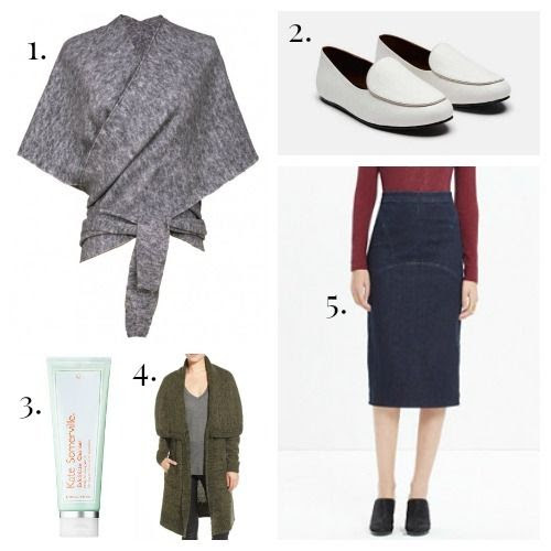 Tibi Shawl - NewbarK Loafers - Kate Somerville Face Cleanser - Leith Cardigan - Madewell Skirt