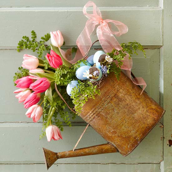 Spring Watering Can with Flowers