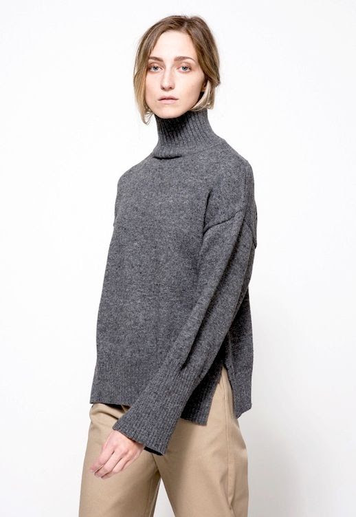 Le Fashion Blog Budget Friendly Under 100 Charcoal Side Split Turtleneck Knit Sweater Khaki Pants Via Need Supply Co
