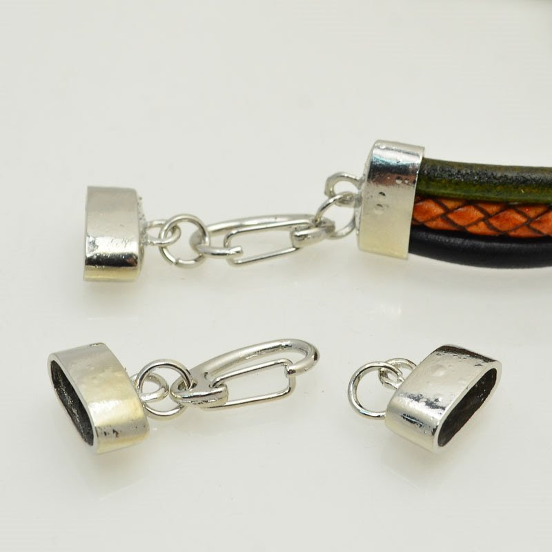 s47788 Findings - Round Leather -  End Caps and Spring Clasp - Bright Silver