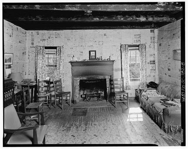 8.  Living room, east wall - Caldwell-Hutchison Farm, County Road 93, Lowndesville, Abbeville County, SC