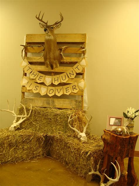 """""""The Hunt is Over"""" wedding shower backdrop for Trey & Jody"""