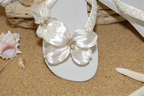 Beach Wedding Shoes Sandals   Bridal Flip Flops  Bridal