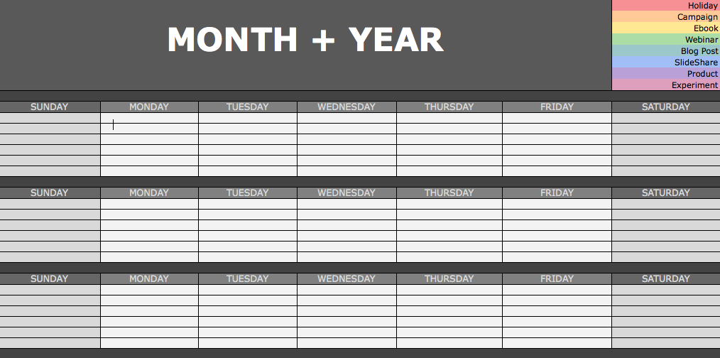 Social Media Monthly Planning Calendar