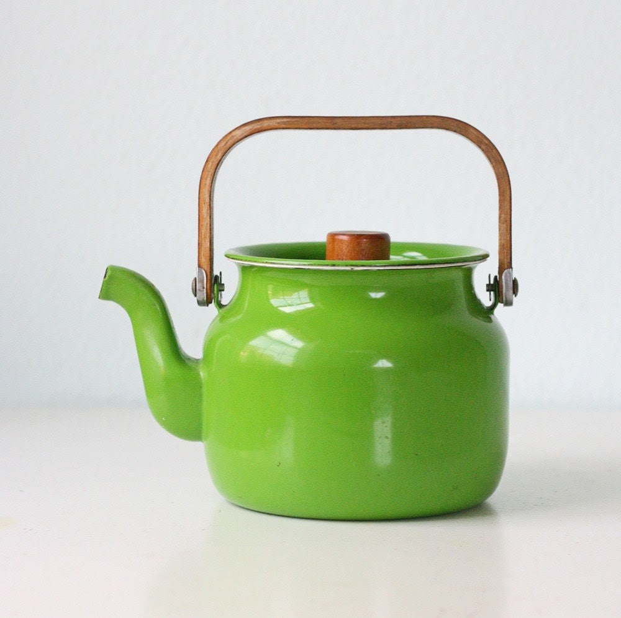 Retro Green Enamel Teapot