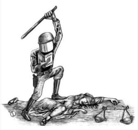 V. Justitiea; bruut verkracht.