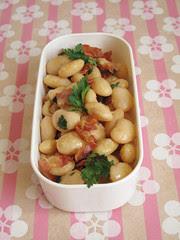 Lato salato: insalata di fagioli, pancetta croccante e prezzemolo