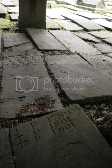 Ancient tombstones in Heptonstall's churchyard.