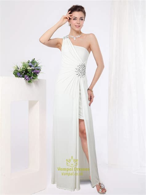 White One Shoulder Maxi Dress,Short Dress With Long