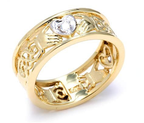 14ct Two Tone Gold Diamond Claddagh Wedding Band with