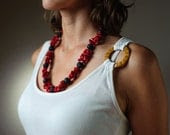Chunky Red Coral Statement Necklace Beaded Black Lava Elegant Mother Day Gift Jewelry - DevikaBox