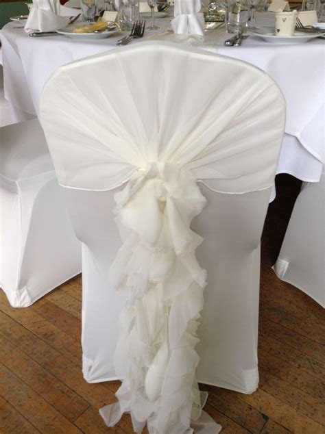 Ivory chair cover with ivory ruffle hood   seat covers and