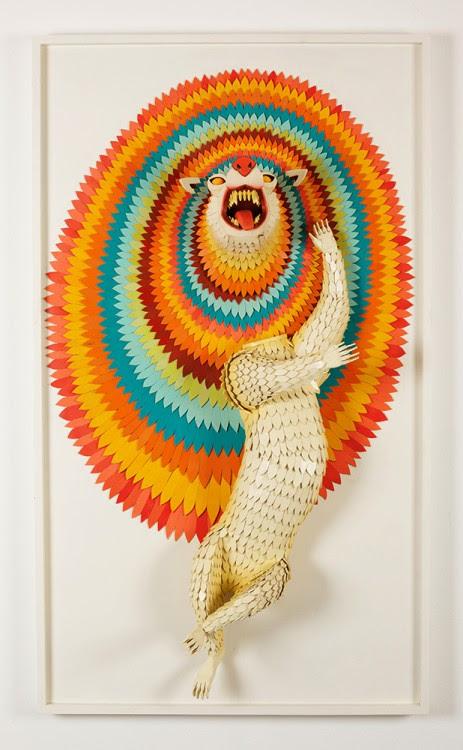ajfossik bois tableau sculptre 07 463x750 Les monstres en relief dAJ Fosik  art