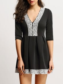 Black Deep V-neck Lace Embellished Flare Dress