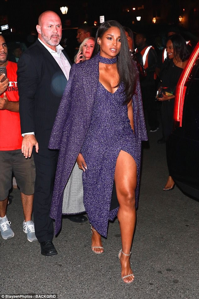 Busty: Songstress Ciara, 31, dazzled in a glittering purple gown as she attended the star-studded Harper's Bazaar ICONS party for New York Fashion Week on Friday