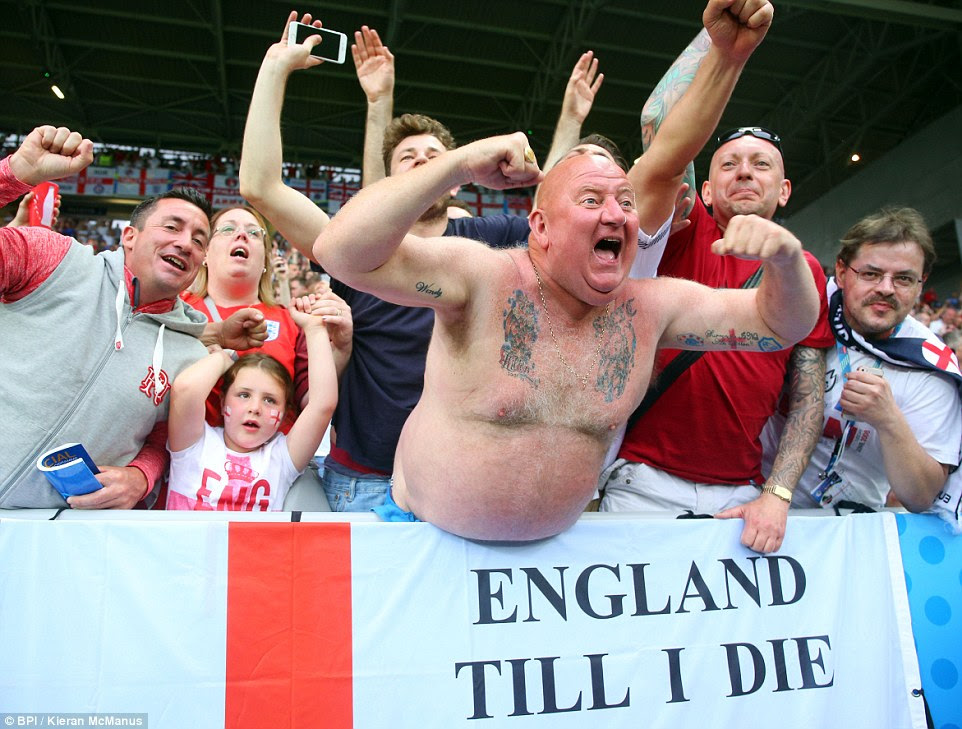 An England supporter leans over the front of the advertising hoardings as Three Lions fans dominated three-quarters of the stadium