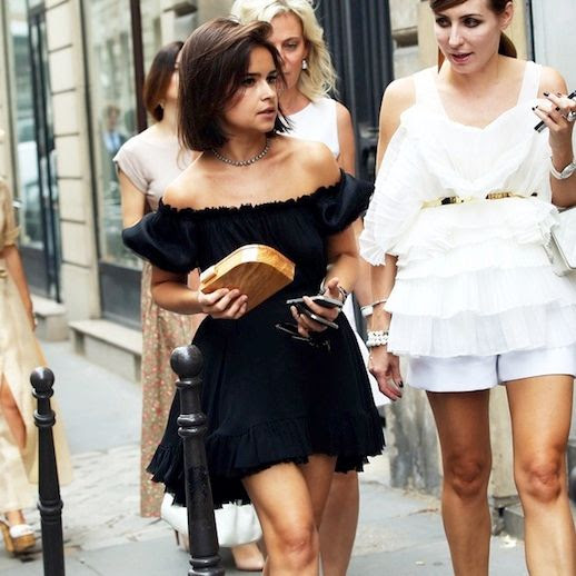 Le Fashion Blog Street Style Miroslava Duma Short Bob Haircut Ray Ban Clubmaster Sunglasses Black Off The Shoulder Ruffled Dress Wood Clutch Bag Summer Style Via Grazia photo Le-Fashion-Blog-Street-Style-Miroslava-Duma-Off-The-Shoulder-Dress-Summer-Style-Via-Grazia.jpg