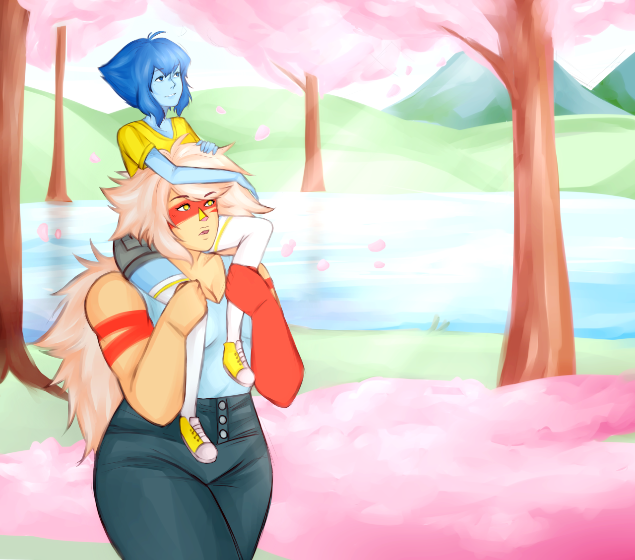 now arriving at Hanamura request 1 Jaspis: traveling the world! they went to Japan to see the cherry blossoms :')