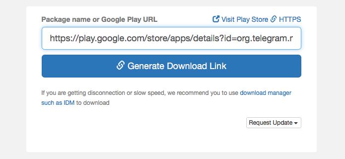 Cole a URL no site e mande gerar o download do APK (Foto: Reprodução/Helito Bijora)