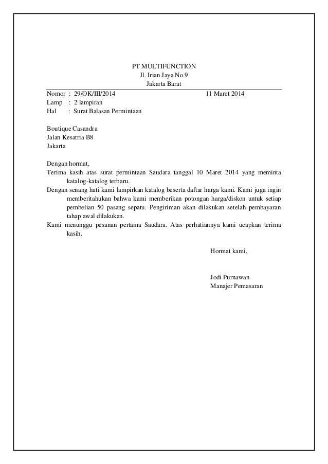 Contoh Surat Balasan Gudang Surat