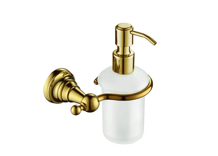 Golden Bathroom Accessory Wall Mounted Soap Dispenser With Brass