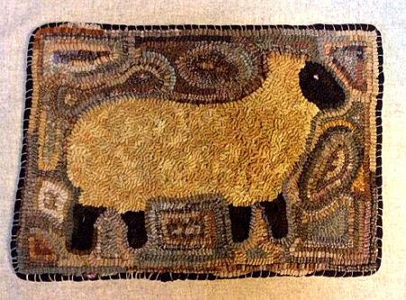 Betsy's primitive sheep mat