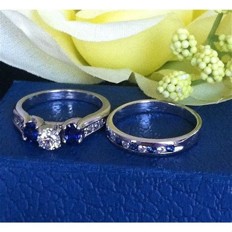 Jared Diamond Sapphire Engagement Ring & Wedding Band 14k