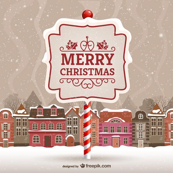フリー素材 雪の積もる街並みと看板のクリスマスカードのイラスト
