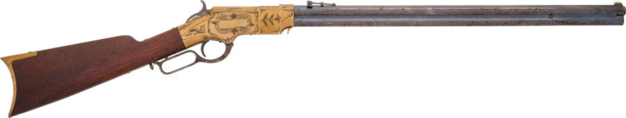 Long Guns:Lever Action, Engraved Henry Lever Action Rifle. Serial ...