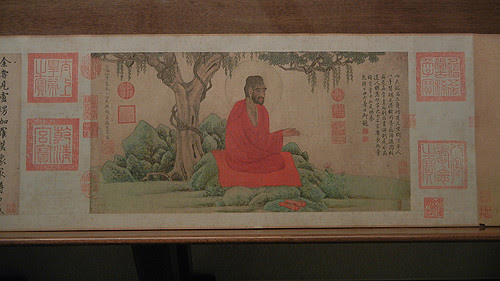 DSCN6209 _ 红衣西域僧图 Red Robed Western Monk, 赵孟頫 Mengfu ZHAO, 1304, 26x52cm, Liaoning Museum, Shenyang, China