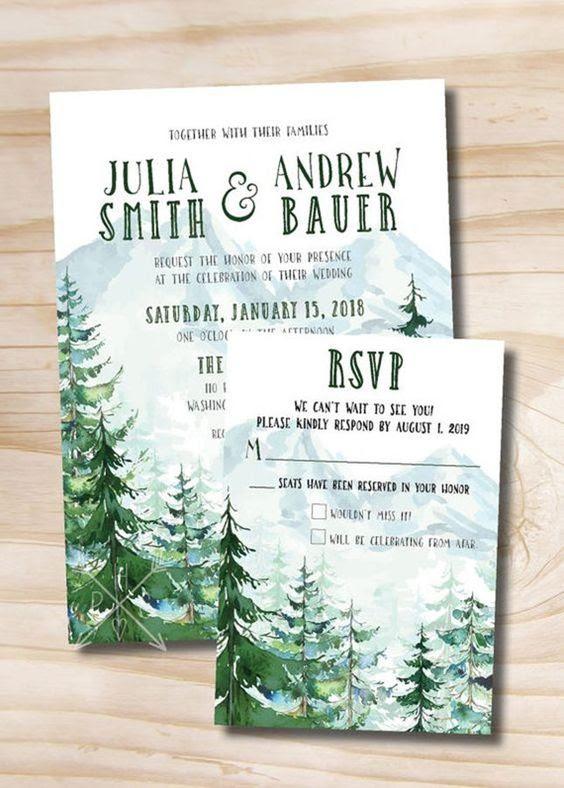 everygreen winter-Hochzeits-Einladungen werden daran erinnern, alle Ihre Gäste, Weihnachten steht vor der Tür