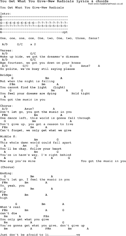 Chords And Lyrics For You Only Get What You Give