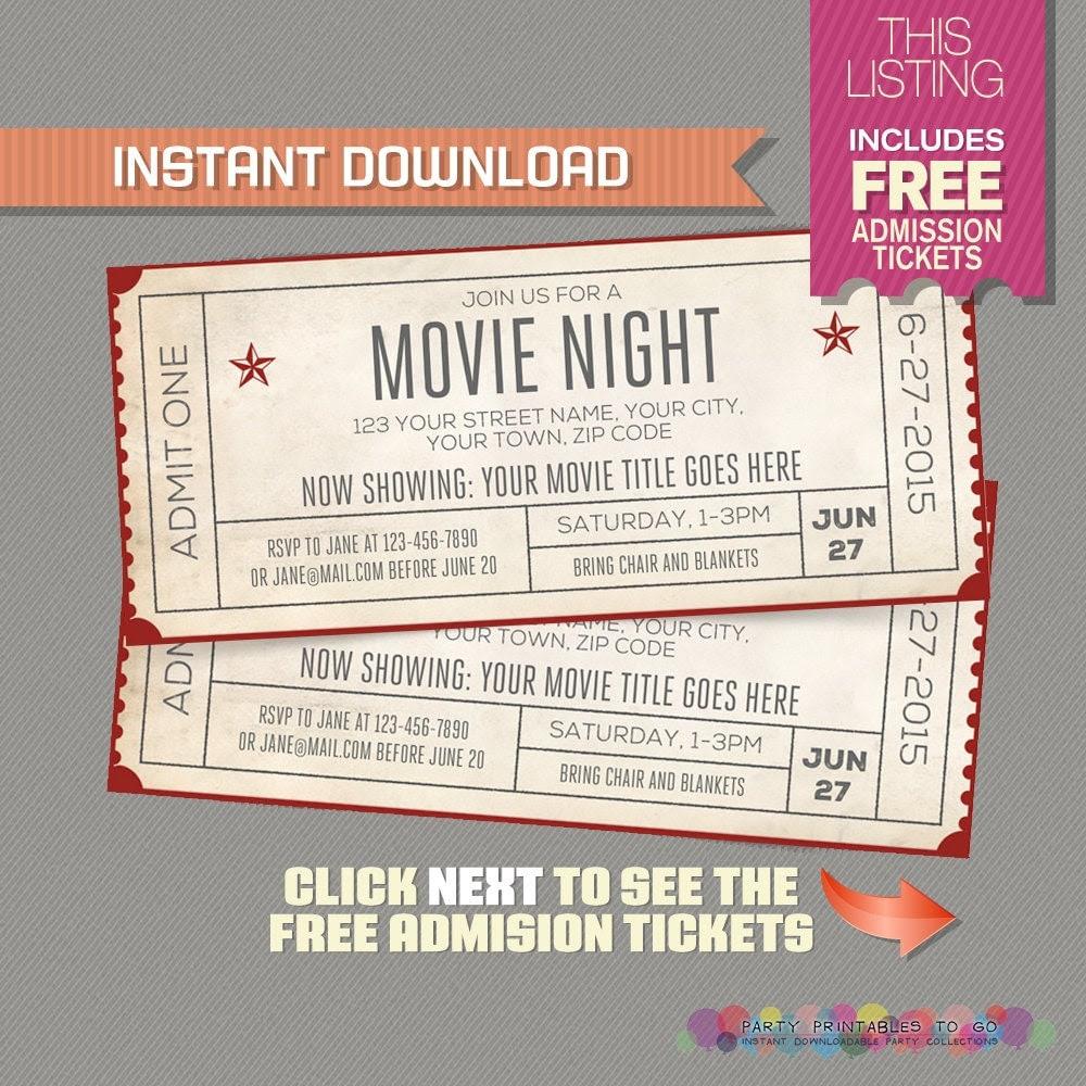 Editable Movie Ticket