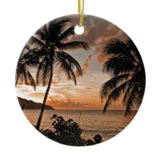 St. Croix VI Sunset Double-Sided Ceramic Round Christmas Ornament