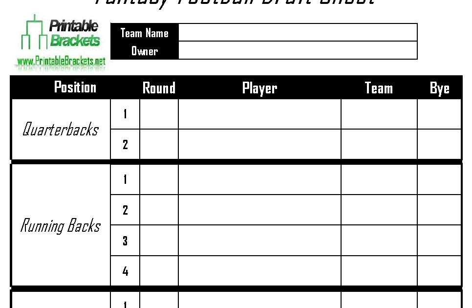 Vibrant image throughout fantasy football depth chart printable