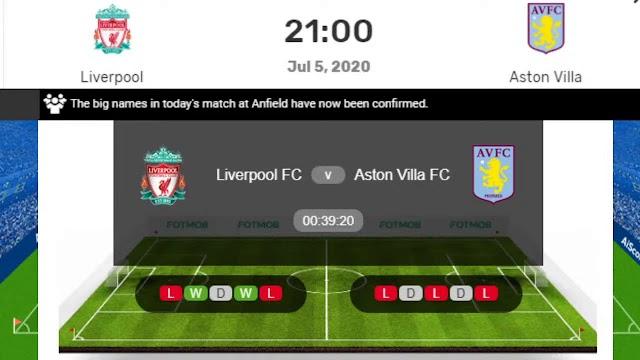 Watch Live Stream Match: Liverpool vs Aston Villa (Premier League)