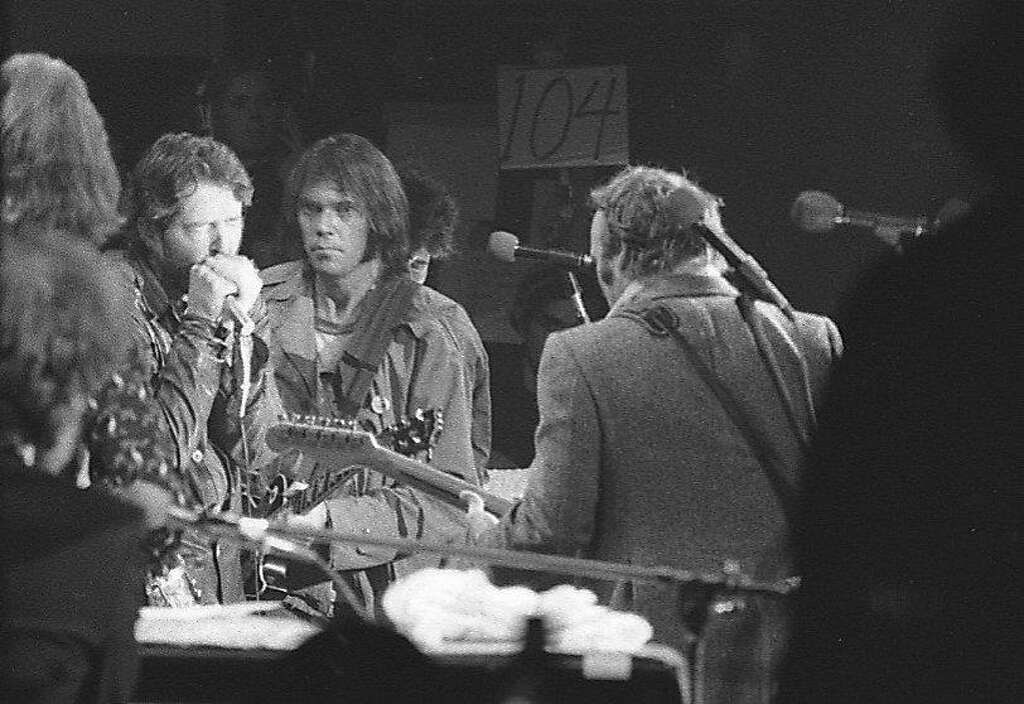 The Last Waltz concert at Winterland November 25, 1976, was filmed by Martin Scorcese In this photo Paul Butterfield, Neil Young and Steve Stills  The Band and many guest musicians performed, including Neil Young, Bob Dylan, Van Morrison Eric Clapton Ron Wood, Ringo Starr, Dr. John  and Joni Mitchell Photo: Gary Fong, The Chronicle