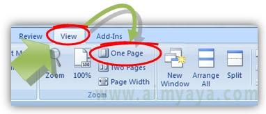 Gambar:Cara Membuat  tampilan satu halaman penuh di microsoft word
